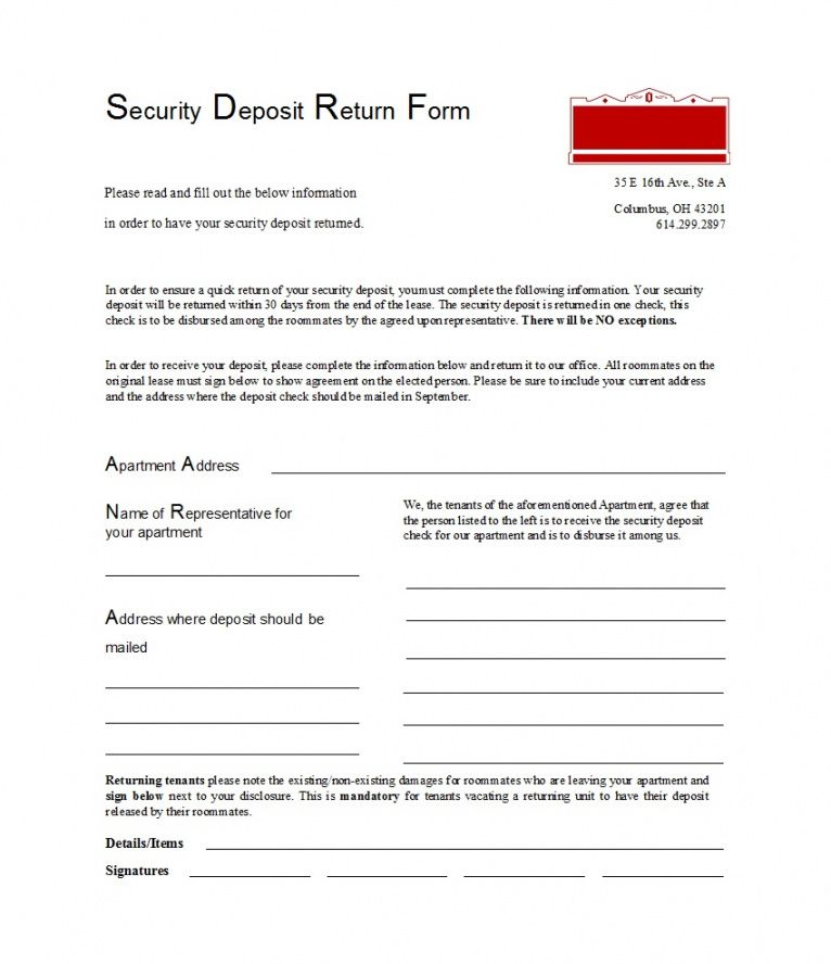sample 50 effective security deposit return letters [ms word] ᐅ letter to landlord for security deposit return sample