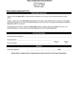 sample direct deposit agreement form authorization agreement for direct deposit word