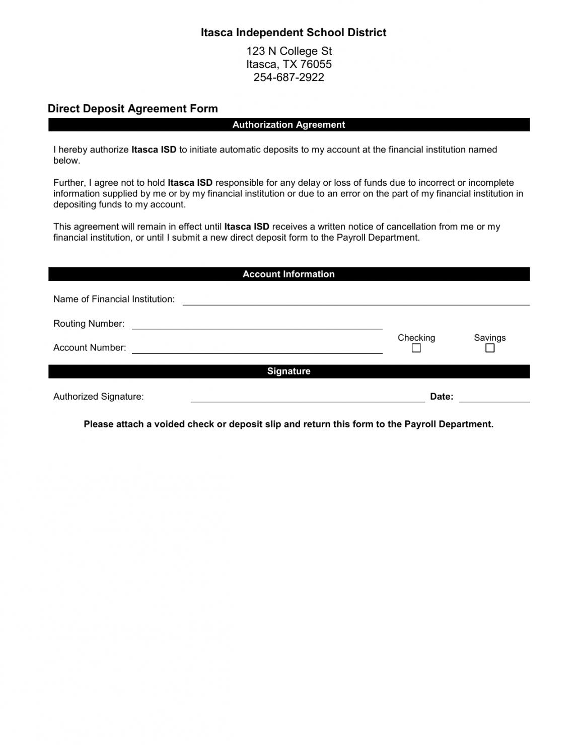 sample direct deposit agreement form authorization agreement for direct deposit word
