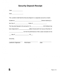 sample free security deposit receipt template  pdf  word  eforms proof of deposit template example