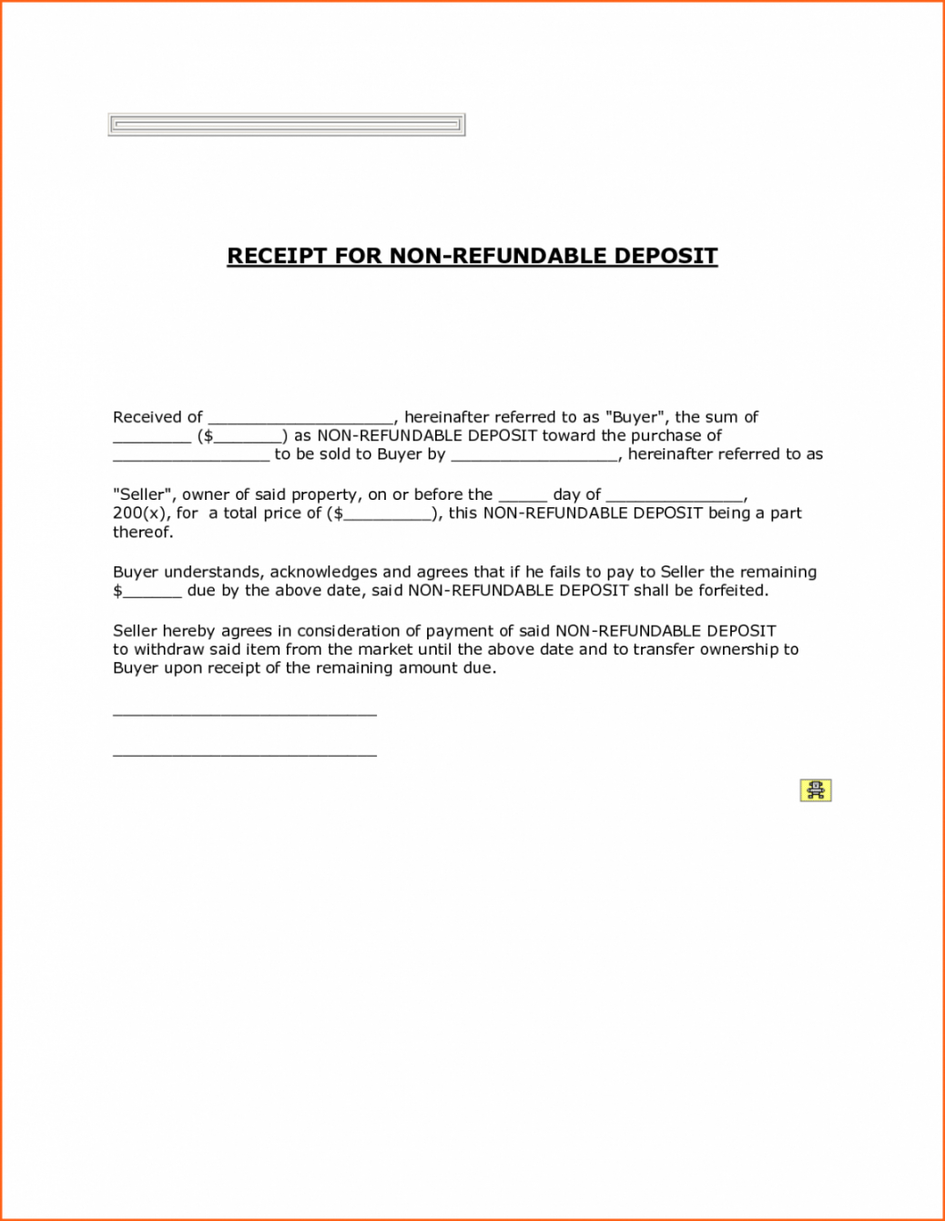 sample printable non refundable down payment receipt with blank non refundable deposit form template pdf
