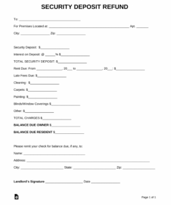 sample rental security deposit refund form return of security deposit form letter sample