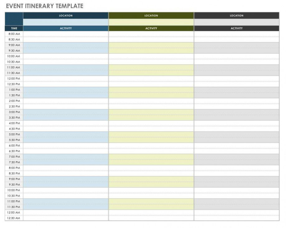 editable free itinerary templates  smartsheet day to day travel itinerary template sample