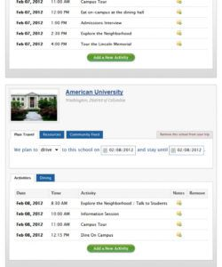 sample itineraries for college trips  go see campus college tour itinerary template excel