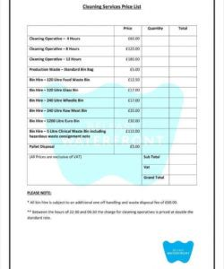 8 cleaning price list templates  free word pdf excel cleaning business budget template excel