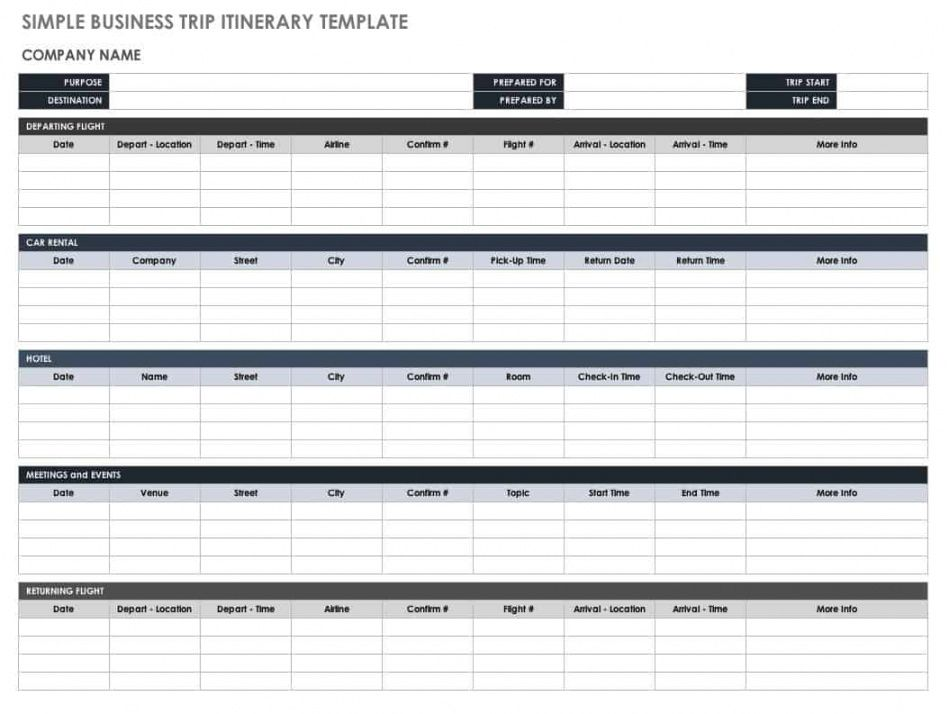editable free itinerary templates  smartsheet road trip travel itinerary template example