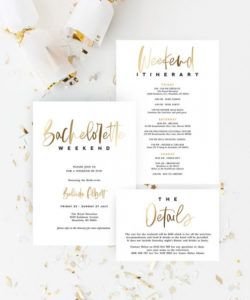 free bachelorette party invitation itinerary and details card template gold  simple minimal diy editable with templett instant download t004 bridal shower itinerary template excel