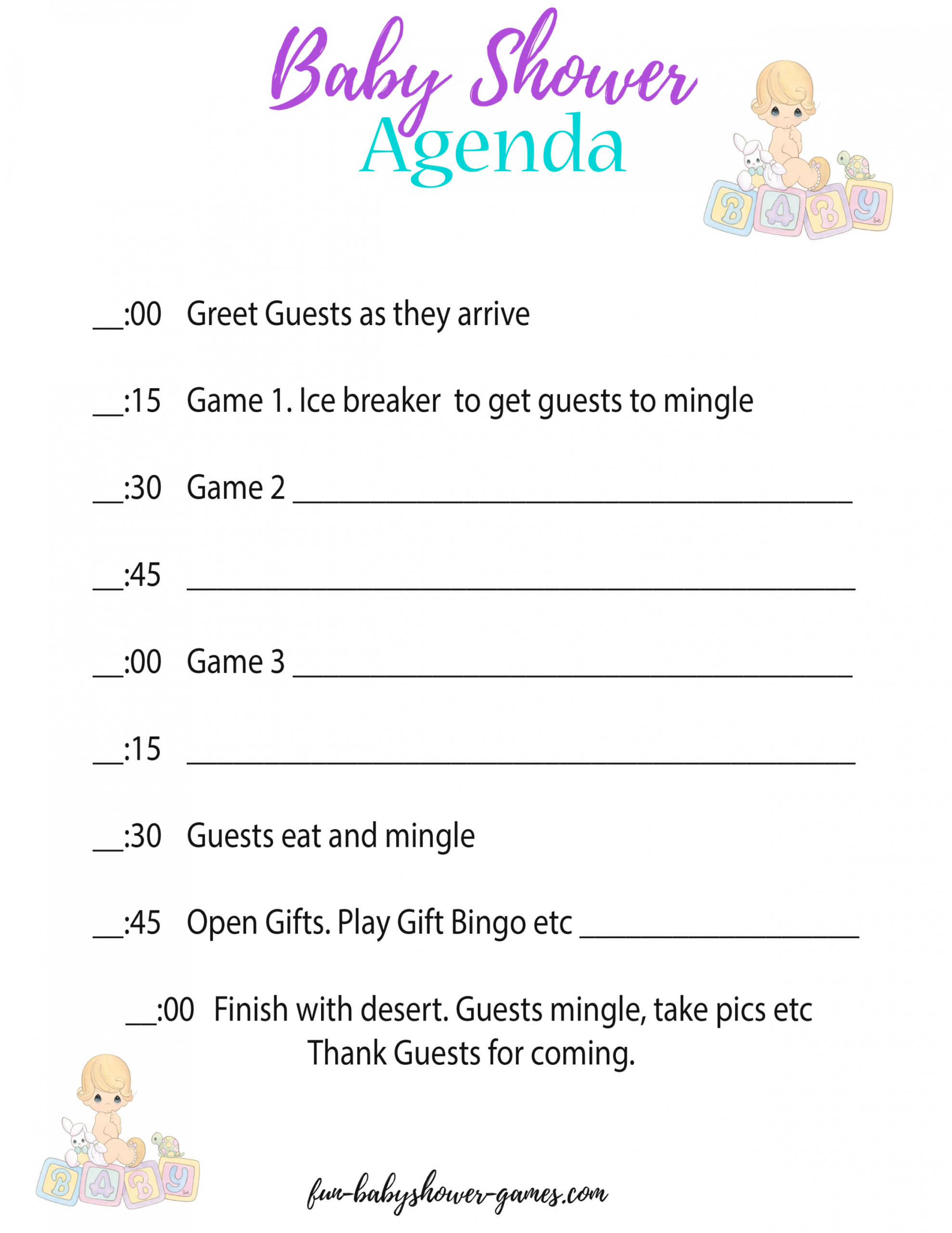 printable baby shower agenda a hostess secret weapon baby shower itinerary template example