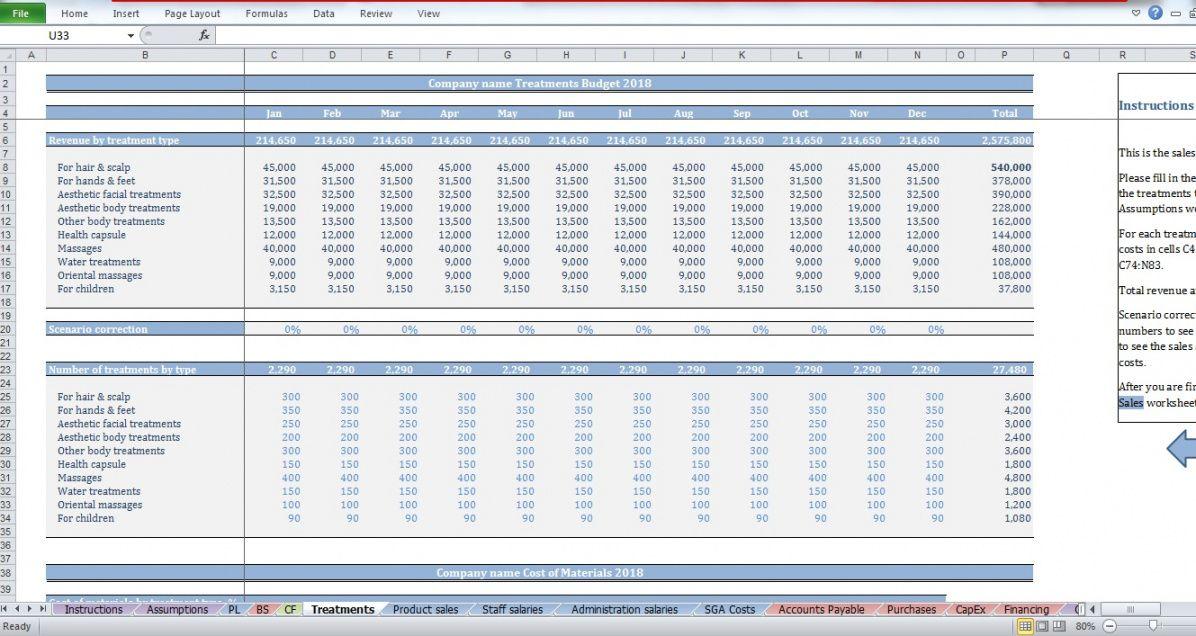 sample beauty salon budget template  cfotemplates salon budget template doc