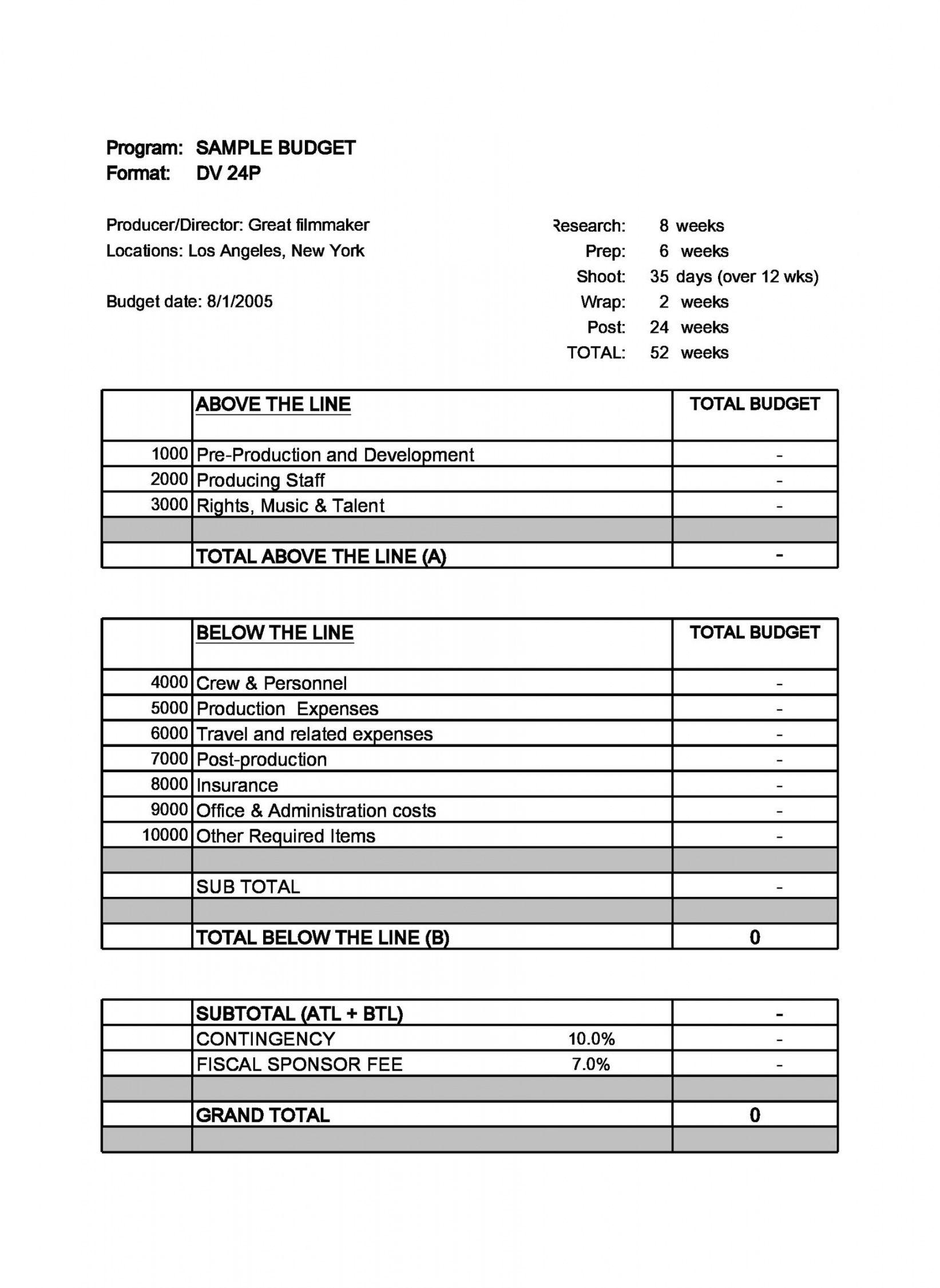 editable 33 free film budget templates excel word ᐅ templatelab post production budget template doc