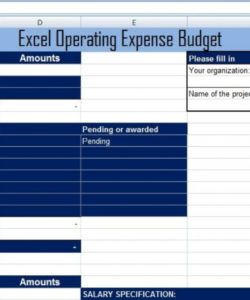 editable project operating expense budget template  projectemplates operating expense budget template example