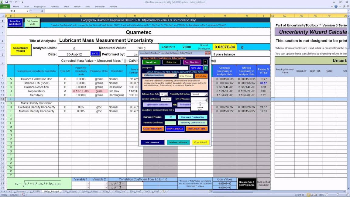 editable uncertaintytoolbox™  budget template uncertainty budget template pdf