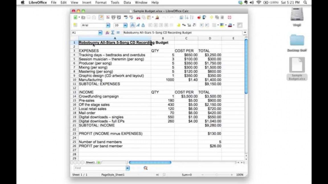 free creating a spreadsheet to track a 5 song cd recording budget musician budget template word