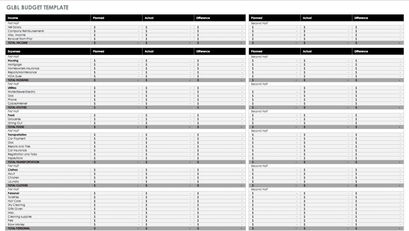 free free monthly budget templates  smartsheet monthly salary budget template doc