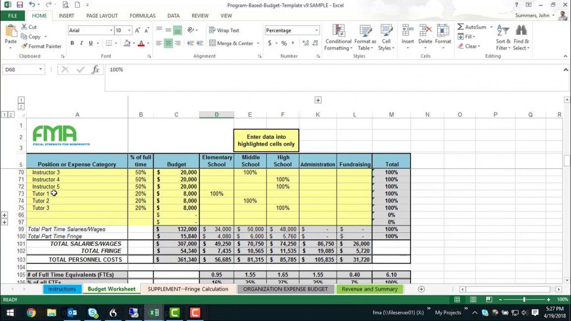 printable nonprofit program budget builder template  wallace small nonprofit budget template pdf