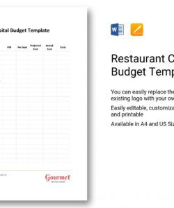 printable restaurant capital budget template in word apple pages restaurant construction budget template sample