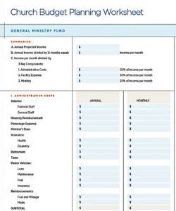 sample church budget template  will work template business church annual budget template word