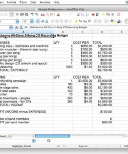 sample creating a spreadsheet to track a 5 song cd recording budget recording album budget template excel