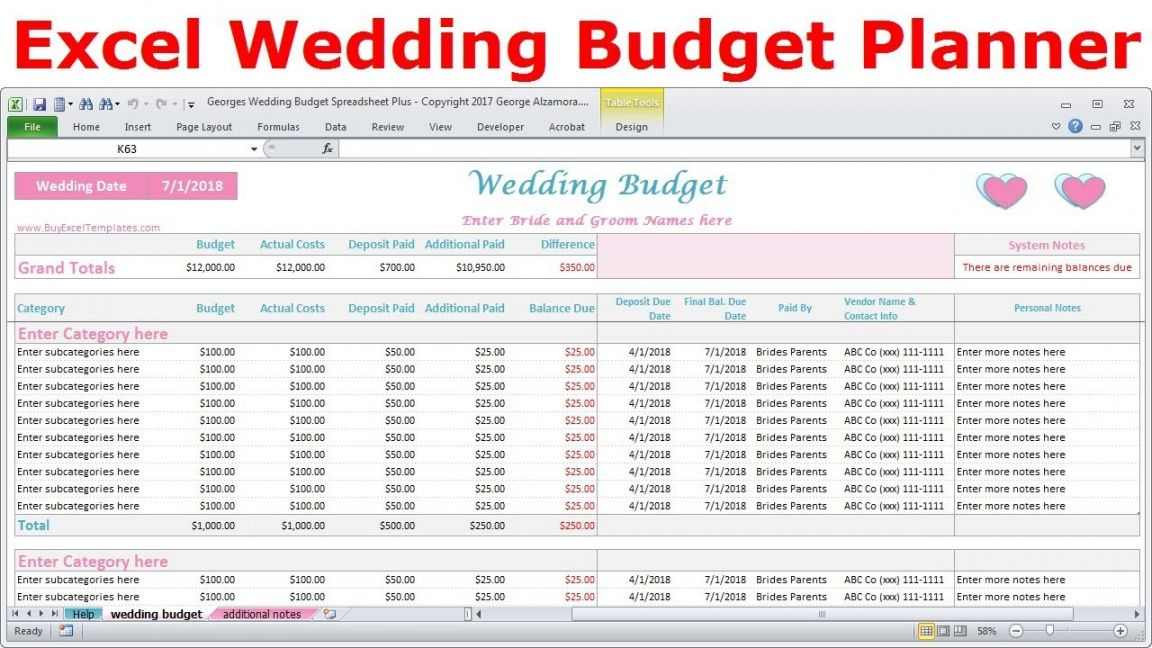 sample excel wedding budget spreadsheet  wedding expenses tracker  wedding cost  calculator marriage budget template doc