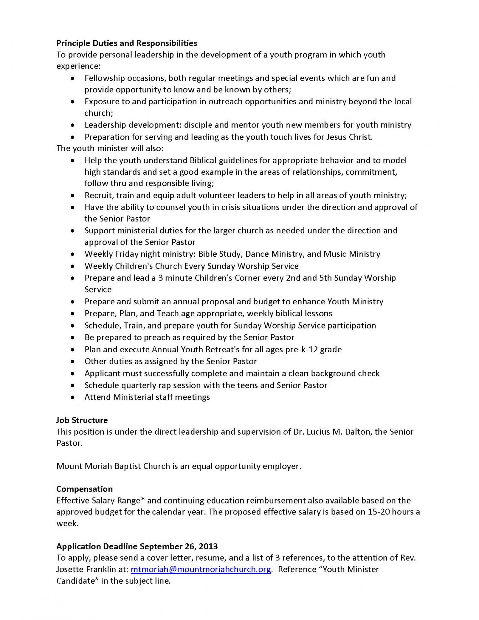 sample youth minister position mt moriah baptist church southern baptist church budget template doc