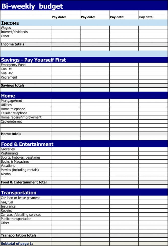 11 free biweekly budget templates  word  excel bi weekly household budget template doc