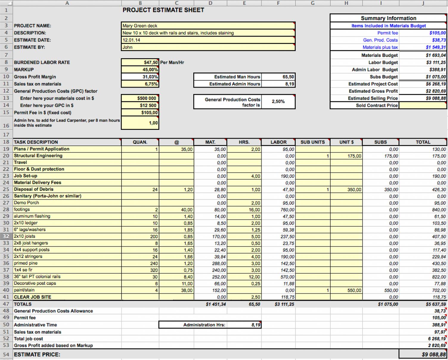 4 best design construction cost estimation methods  fohlio interior design budget template example