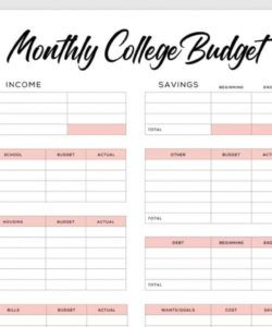 8 free printable budget templates to plan your spending budget for college students template word