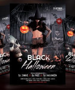 black halloween party free psd flyer template  psdflyer costume party flyer template
