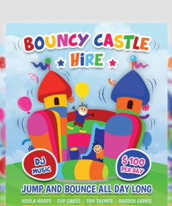 bouncy castle hire flyer template by owpictures on dribbble bounce house flyer template doc