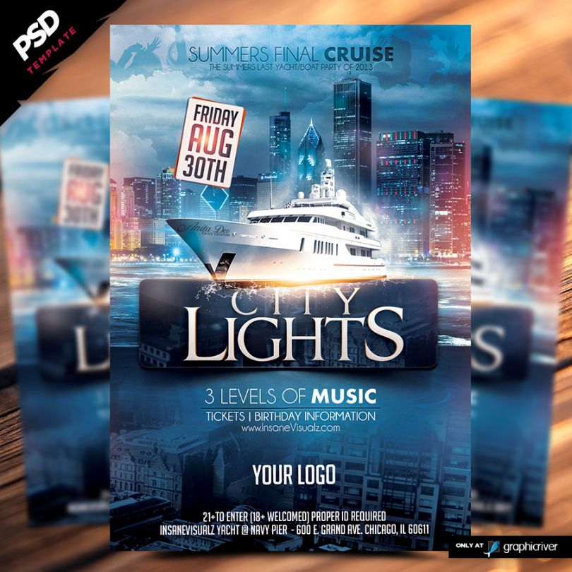 city lights boat party flyer  dope downloads boat cruise flyer template pdf