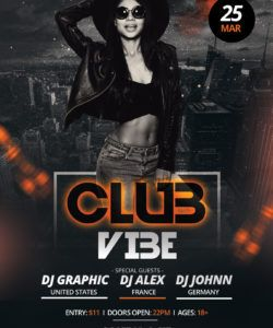 club vibe  free photoshop psd flyer template  psdflyer club promo flyer template and sample