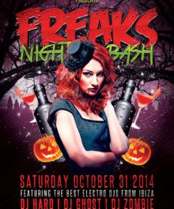 download the freaks night halloween party flyer template for costume party flyer template doc