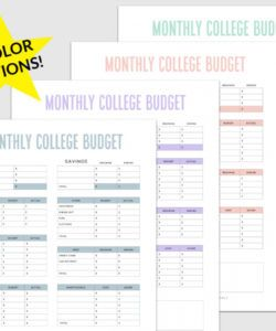 editable simple budget template for college students free pdf budget for college students template