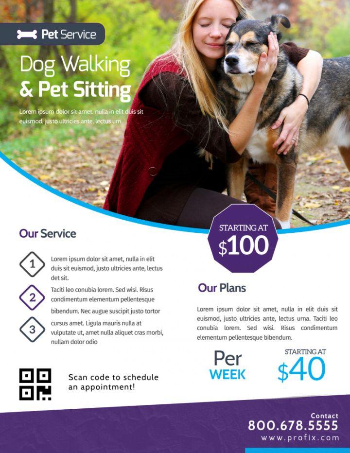 free dog walking & pet sitting flyer template  mycreativeshop dog sitting flyer template doc