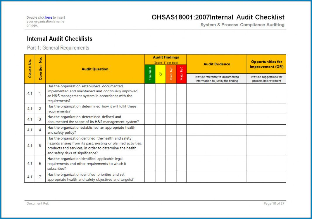 free ✓ free printable internal audit checklist template  zitemplate internal audit budget template example