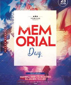 free memorial day 2 free psd flyer template  stockpsd memorial day party flyer template pdf