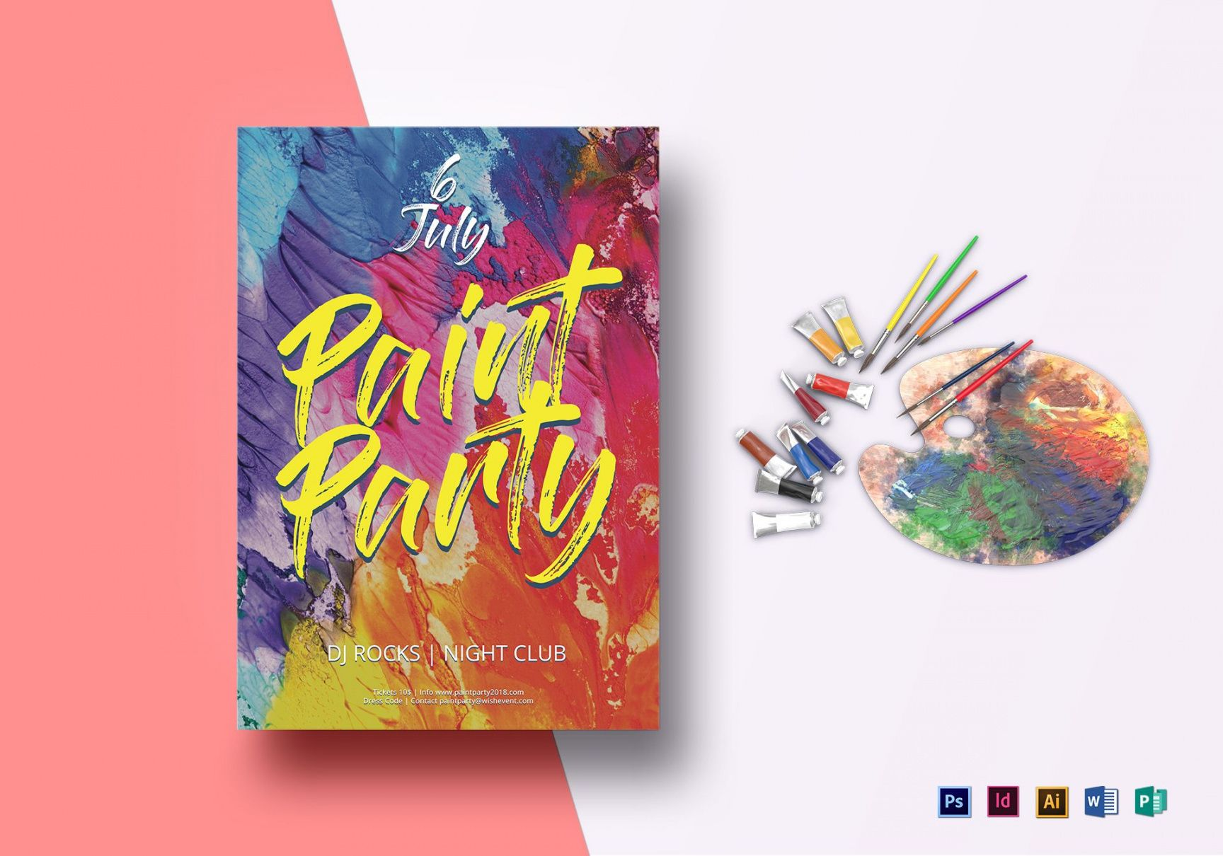 free paint party flyer design template in psd word publisher paint night flyer template doc