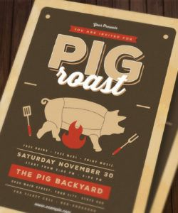free pig roast flyer by guuver  thehungryjpeg pig roast flyer template and sample