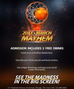 free the madness begins! free 5 basketball flyers in psd for the basketball game flyer template