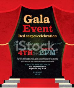 free vintage style red curtian gala event invitation template red carpet event flyer template