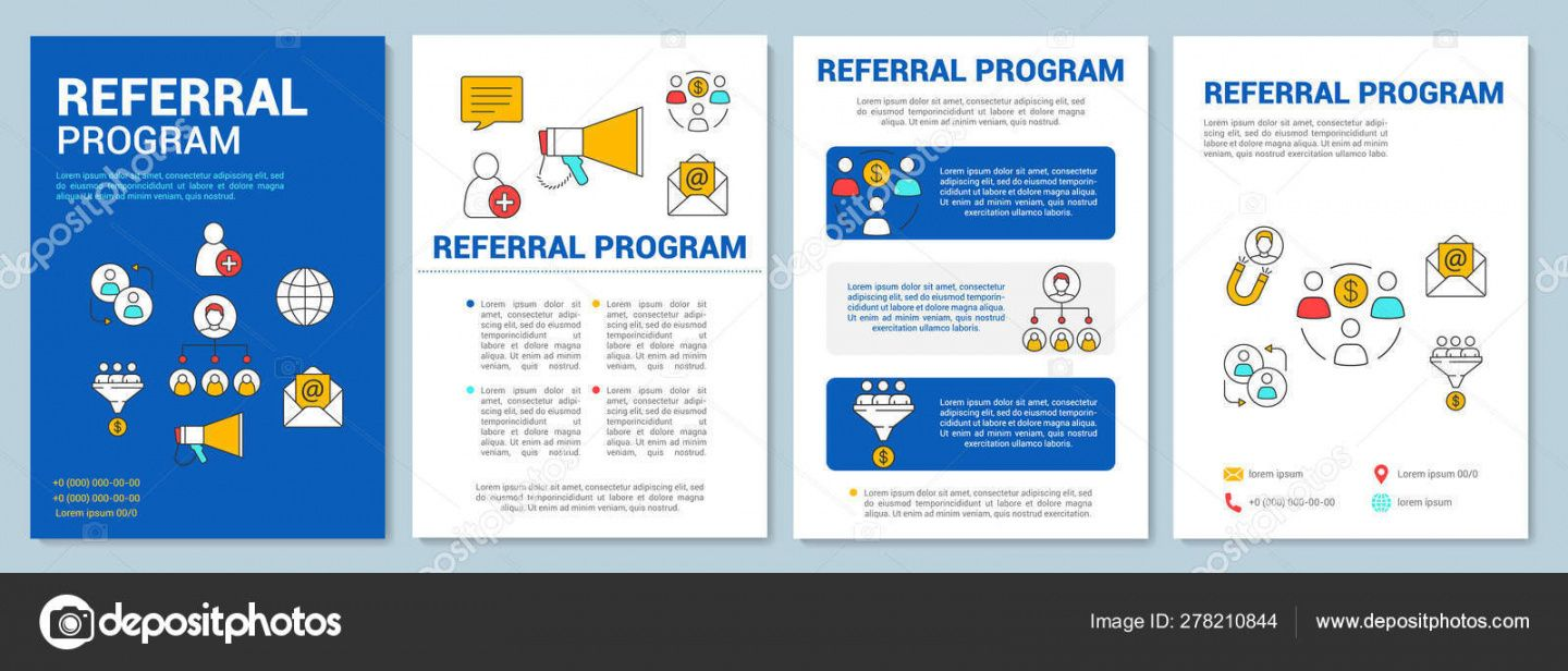 marketing referral program brochure template layout customer attraction  flyer booklet leaflet print design with linear illustrations vector page referral program flyer template doc