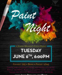 paint night  chabad jewish center of petaluma paint night flyer template