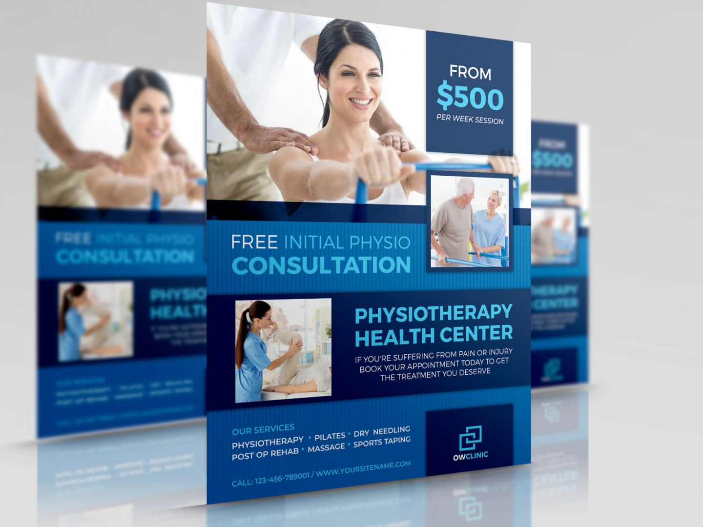 physiotherapy clinic flyer template by owpictures on dribbble physical therapy flyer template