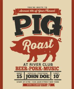 pig roast event flyer corporate identity template pig roast flyer template