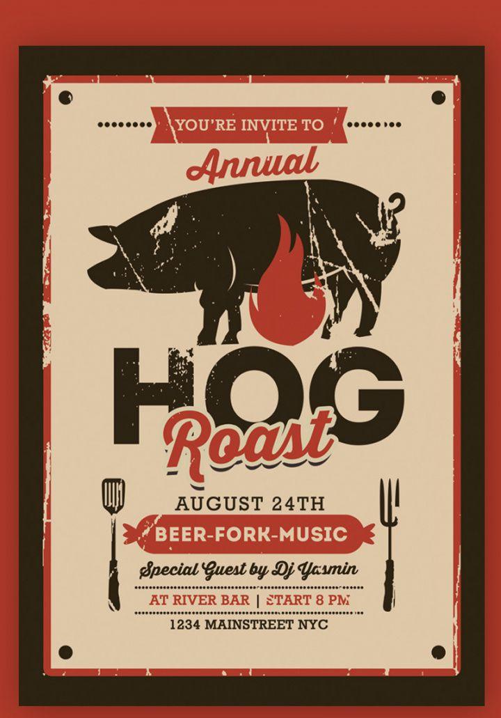 pig roast event flyer corporate identity template pig roast flyer template pdf