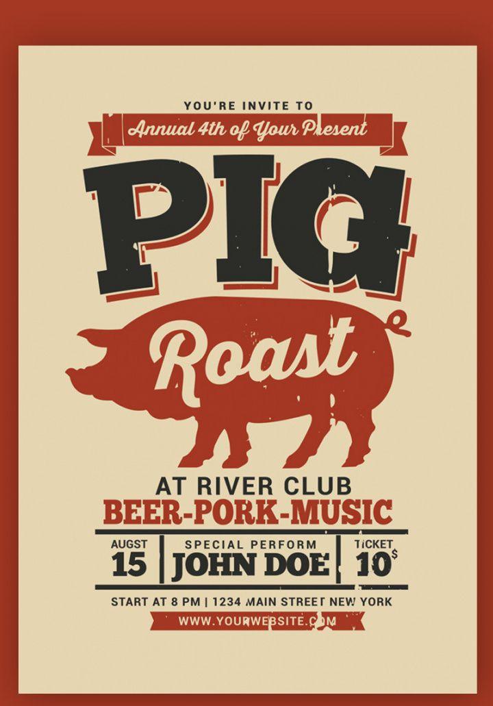 pig roast event flyer corporate identity template pig roast flyer template