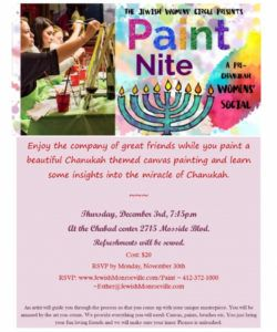 pre chanukah paint night  chabad of monroeville paint night flyer template and sample