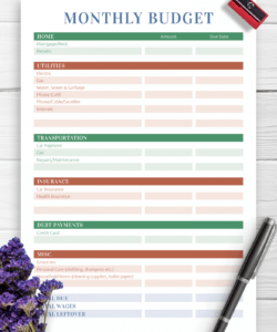 printable download printable monthly household budget pdf personal household budget template sample