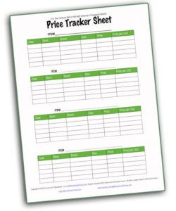 printable price tracker sheet free money saving tool for grocery savings money gazette budget template