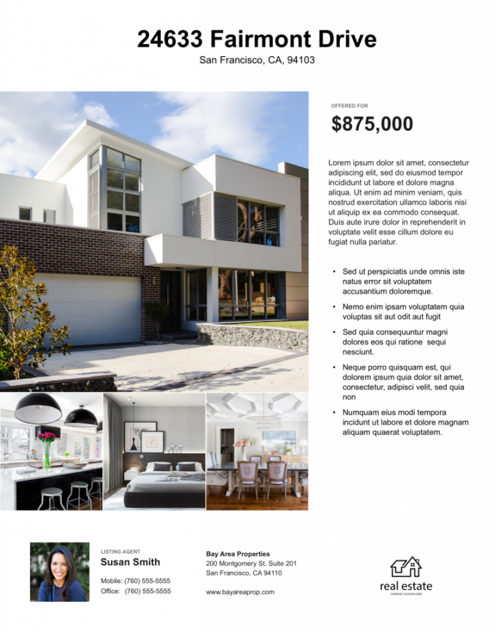 real estate flyer free templates  zillow premier agent rental property flyer template and sample
